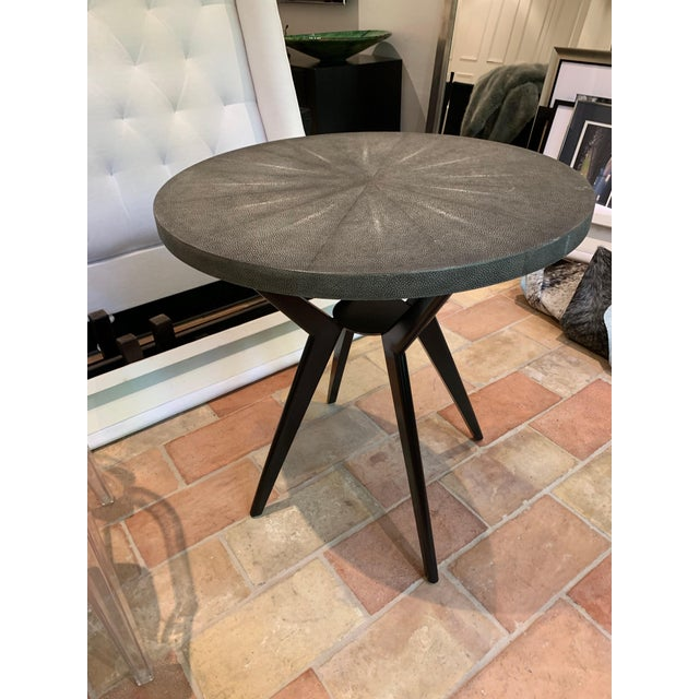 Gorgeous cocktail table with shagreen top and metal legs. Top features a unique sunburst detailing.