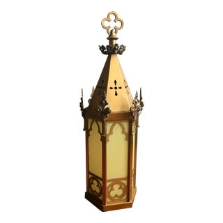Large Brass Gothic Pendant Lantern With Amber Glass