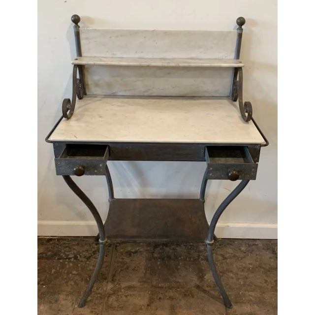 Antique Zinc and Marble Dry Sink Basin For Sale - Image 11 of 11