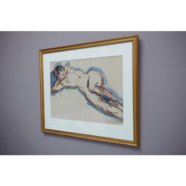 Paint Maurice Henri Hensel, Watercolor on Board of Female Nude, Circa 1940s For Sale - Image 7 of 8