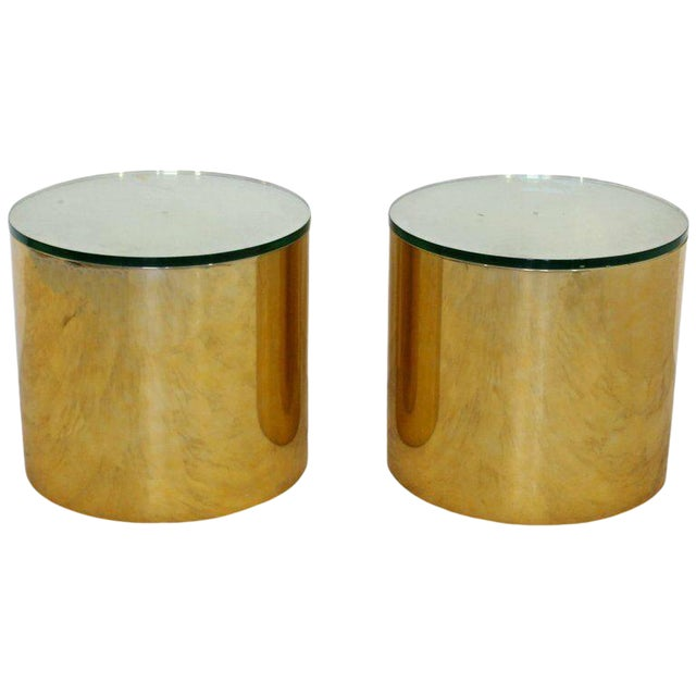 Mid Century Modern Pair Brass Round Drum Side Tables Paul Mayen Habitat 1970s For Sale