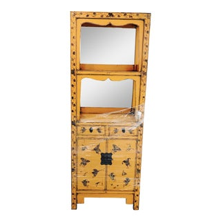 Vintage Tangerine Butterfly Motif Display Cabinet
