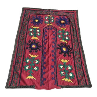 Vintage Small Suzani Table Cover For Sale