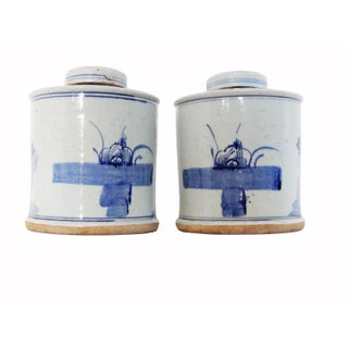 "Chinoiserie Hand Painted Blue & White Ginger Jars W/ Birds Pair 9"" H Preview"