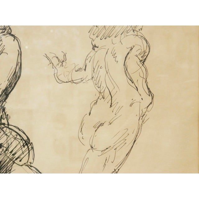 """1950s """"Five Nudes"""" Line Drawing by Louis Field For Sale - Image 5 of 8"""