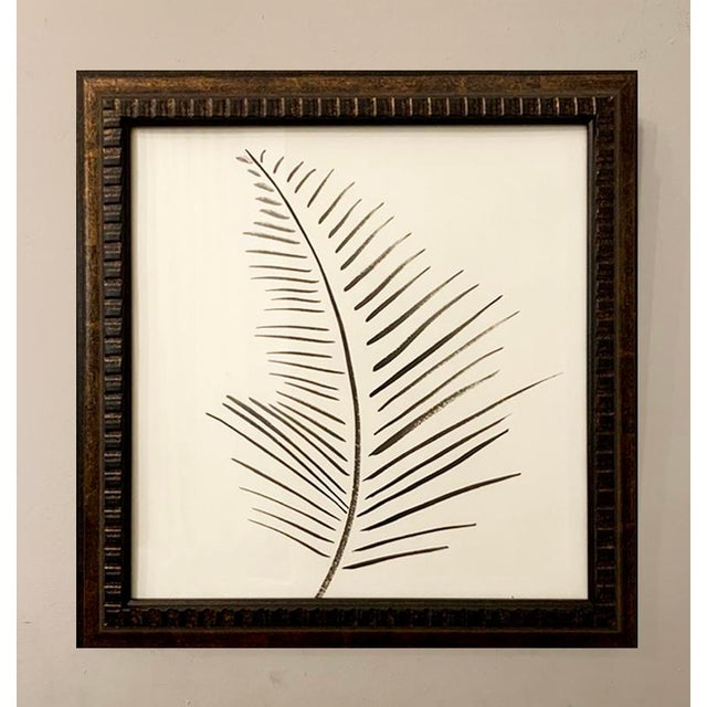 Original Black and White Palm Framed Painting For Sale - Image 4 of 4