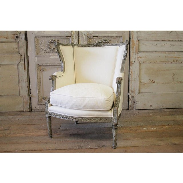19th Century Antique French Louis XVI Style Wing Chair - Image 2 of 6