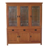 Image of Stickley 21st Century Collection Leaded Glass Arts & Crafts Cherry China Cabinet For Sale