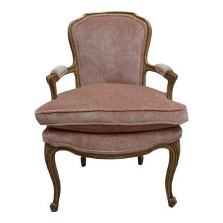 Vintage 1950s French Gold Gilt Paint Lounge Arm Chair For Sale