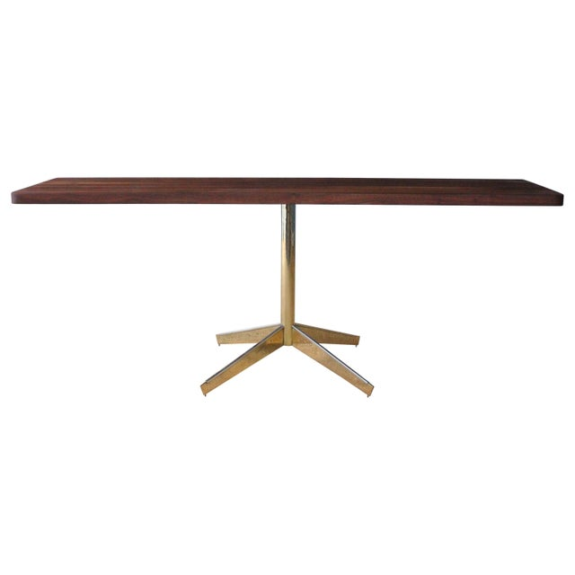 Solid Walnut Console Table on Brass-Plated Base, Usa, 1960s For Sale - Image 9 of 9