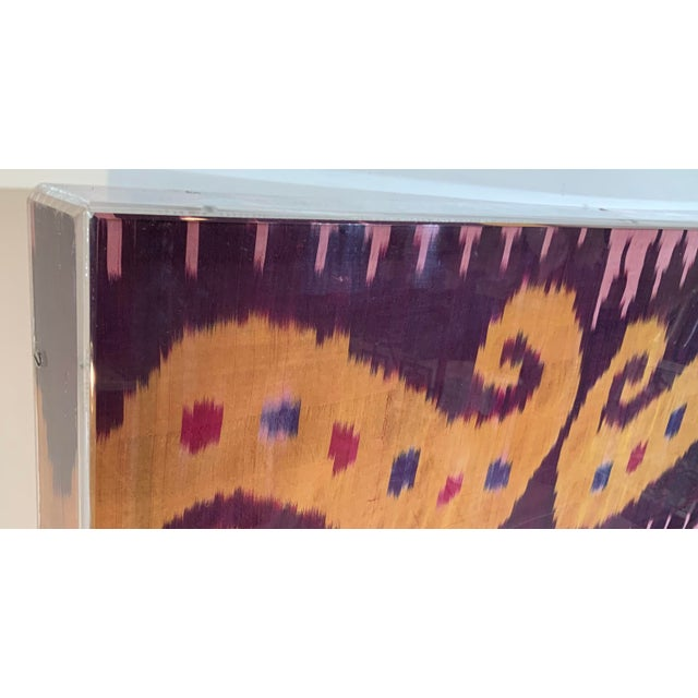 Asian Antique Silk Ikat Display in Lucite Shadowbox For Sale - Image 3 of 13