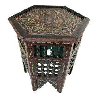 Moroccan Hunter Green Hand Painted Side Table For Sale