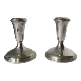 Vintage Empire Sterling Weighted 370 Candlestick Holders Classic Design - A Pair