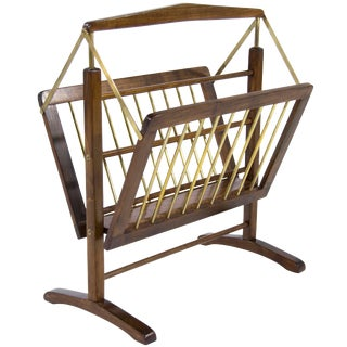 Walnut and Brass Magazine Rack, Italy, 1950s For Sale