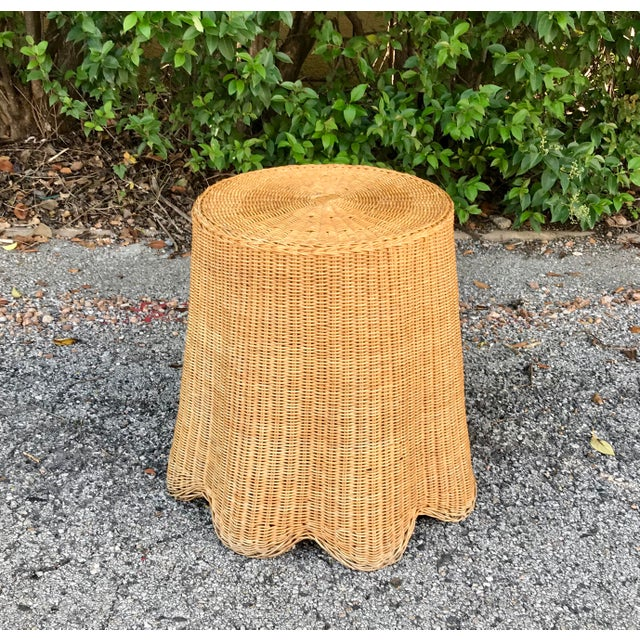 Tan Trompe L'Oeil Mid Century Rattan Ghost Wicker Table For Sale - Image 8 of 8