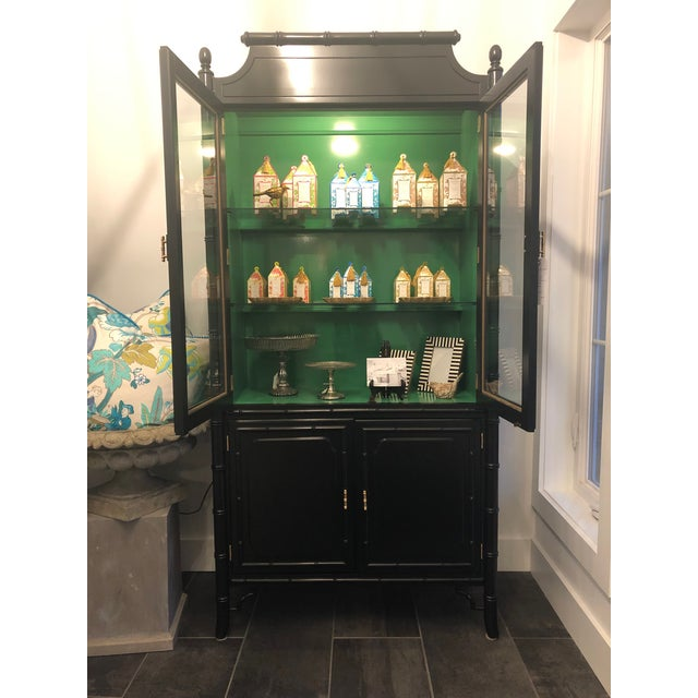 1950s Mid-Century Modern Bamboo China Cabinet For Sale - Image 9 of 11