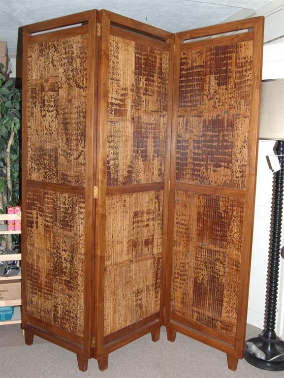 3 Panel Bamboo Screen Room Divider Chairish