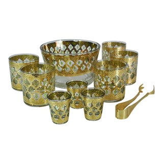 1960s Culver Ltd Valencia Rocks and Shot Glasses With Tongs and Ice Bucket - 10 Piece Set For Sale