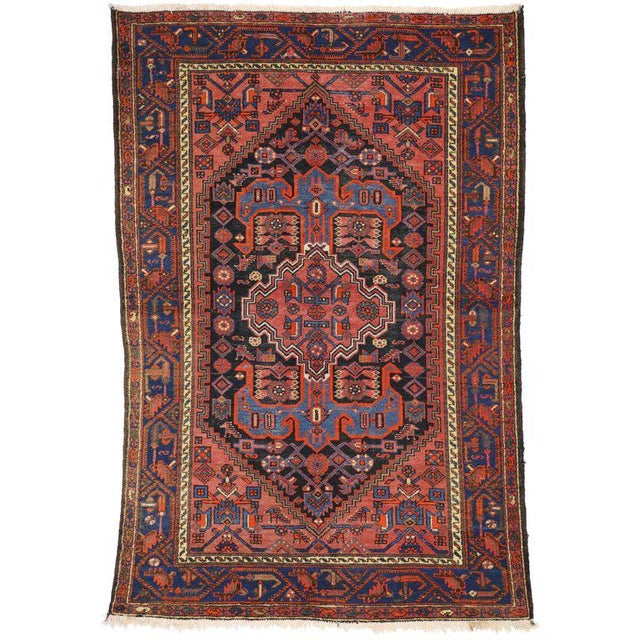 Blue Antique Persian Hamadan Rug with Modern Tribal Style For Sale - Image 8 of 8