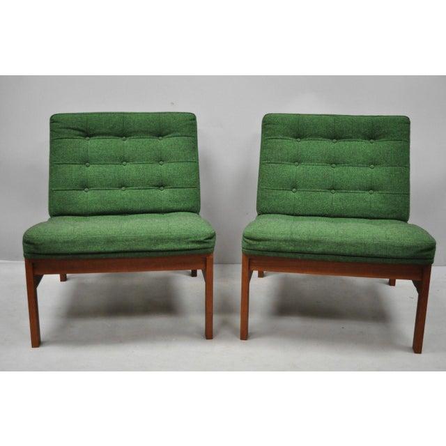 1960s Vintage Gjerlov Knudsen Torben Lind France & Son Green Teak Moduline Slipper Chairs- A Pair For Sale - Image 11 of 11