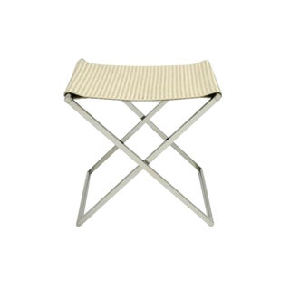 Contemporary Woven Ivory Leather & Chrome Folding Luggage Rack or Seat For Sale