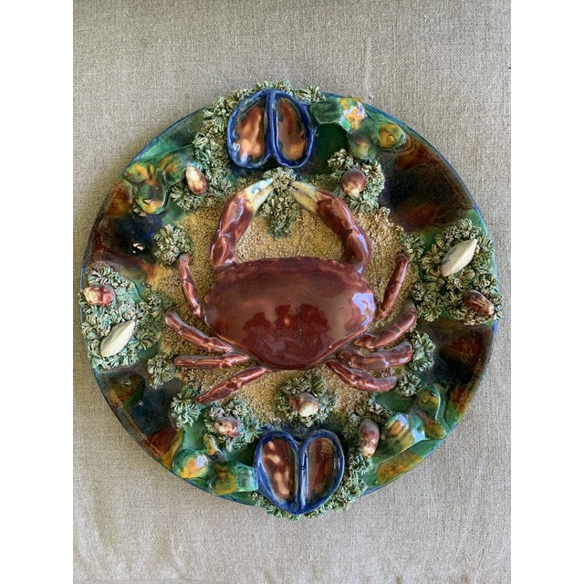 Minton Crab Majolica Palissy Plate For Sale - Image 10 of 10