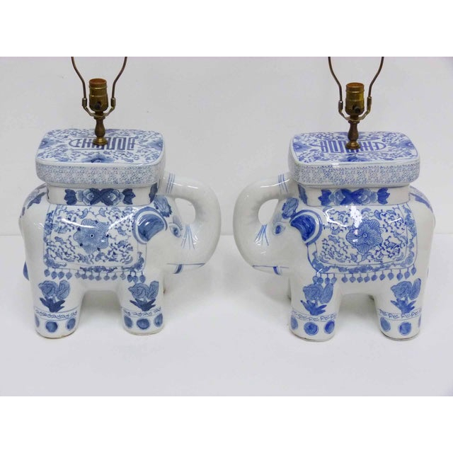 Chinese Blue & White Elephant Table Lamps - A Pair - Image 2 of 10