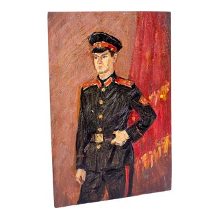 Vintage Soldier Boy Oil Painting For Sale