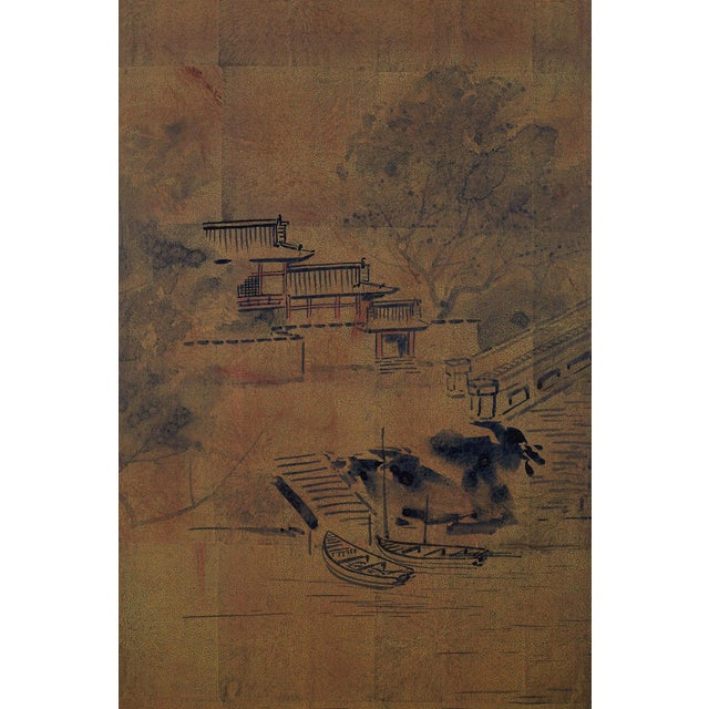 Japanese Four-Panel Screen of Pagoda Bridge Landscape For Sale In San Francisco - Image 6 of 13