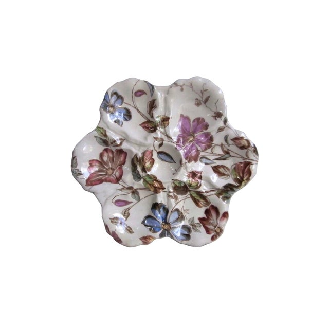 19th Century English Oyster Plate With Flowers Adderley For Sale - Image 9 of 9