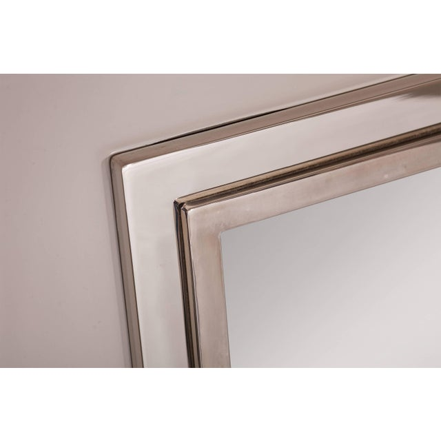 1980s Large Chromed Maison Jansen Mirror For Sale - Image 5 of 8