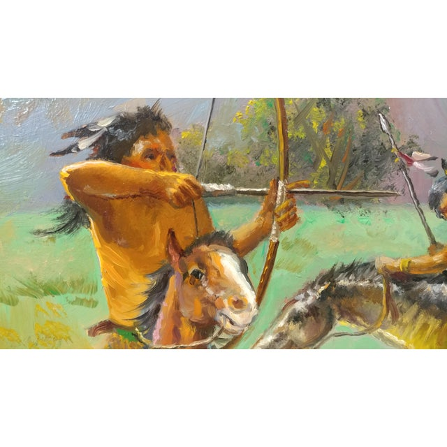 Native American Indians on Horse Oil Painting by Filastro Mottola For Sale In Los Angeles - Image 6 of 9