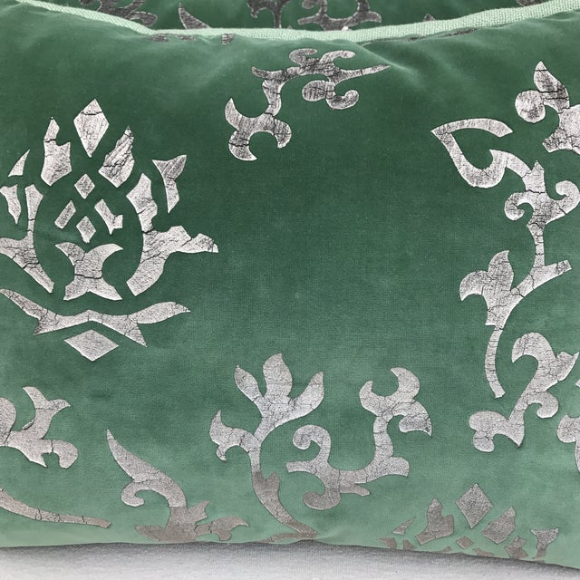 Silver Stenciled Green Velvet Pillows - A Pair - Image 3 of 7