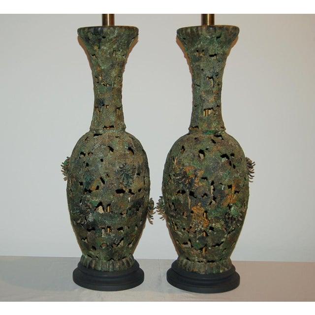 Brutalist Vintage Metal Pierced Brutalist Table Lamps For Sale - Image 3 of 13