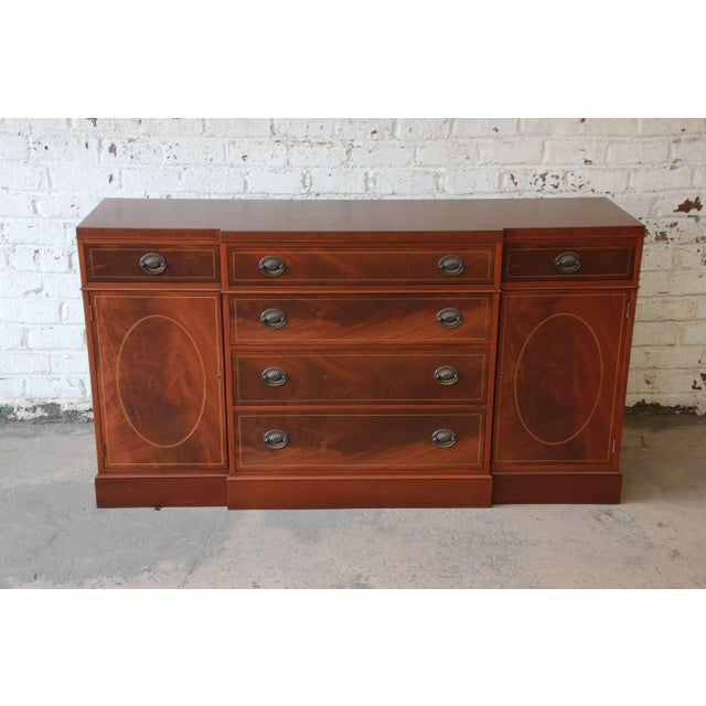 Federal Baker Furniture Inlaid Mahogany Sideboard Buffet For Sale - Image 3 of 11