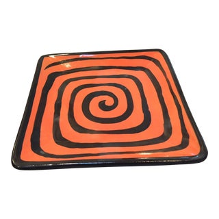 Orange & Black Square Pottery Plate For Sale