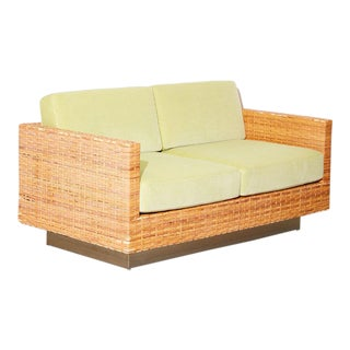 Vintage 1970s Harvey Probber Rattan Loveseat For Sale