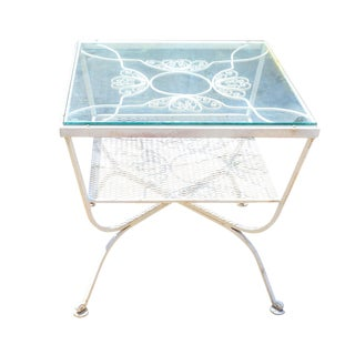 1960s Mid-Century Modern Woodard White Wrought Iron Cocktail Table For Sale