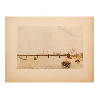 """1930s Camille Pissarro, Rare Original """"Charing Cross Bridge"""" Lithograph For Sale"""