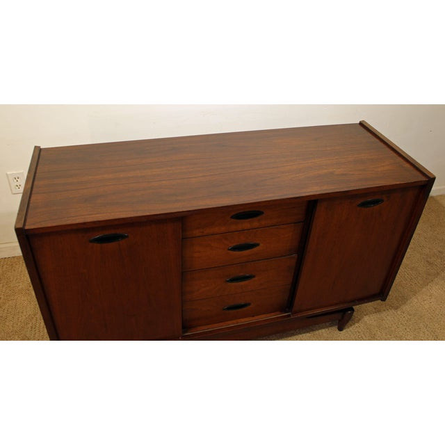 Mid-Century Danish Modern Walnut Sliding Door Floating Base Credenza - Image 3 of 11