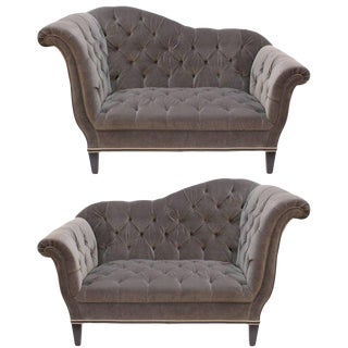 1930s Vintage Art Deco Tufted Velvet Upholstery and Black Wooden Legs Settees - a Pair For Sale
