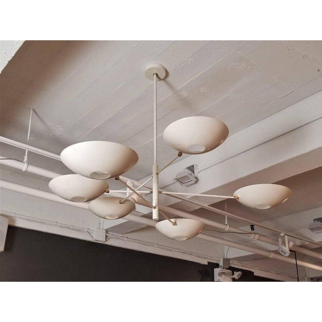 Aluminum Large 'Counterbalance' Chandelier in White Enamel + Brass by Blueprint Lighting For Sale - Image 7 of 11