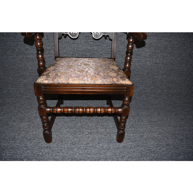 Vintage Solid Carved Dark Oak Jacobean Chairs- Set of 6 For Sale - Image 9 of 11