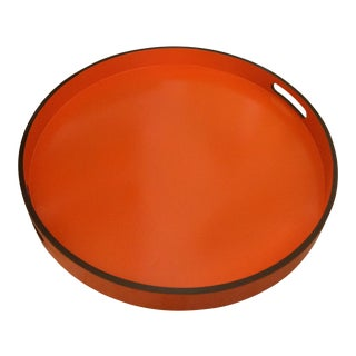 "Hermes Orange Inspired 21"" Round Bar Serving Tray For Sale"