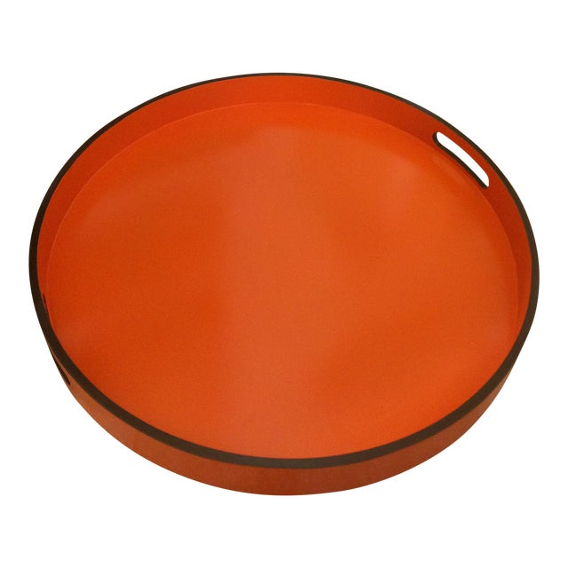 "Hermes Orange Inspired 21"" Round Bar Serving Tray For Sale"