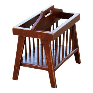 Vintage Country Wood Magazine Rack With Spindles For Sale