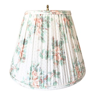 1980s Vintage Light Floral Pleated Lampshade For Sale