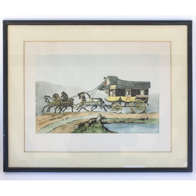 Vintage French Horse and Carriage Etching - Image 7 of 8