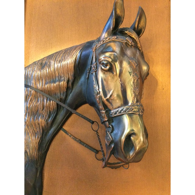 Vintage Framed Copper Equestrian Horse Head in Relief For Sale - Image 4 of 10