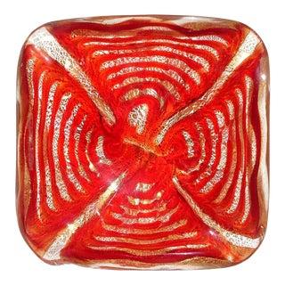 Barovier Toso Murano Vintage Red Gold Flecks Italian Art Glass Mid Century Bowl For Sale